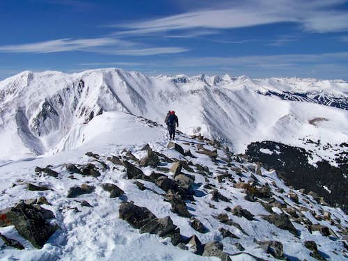Descending the summit ridge, Mount Guyot