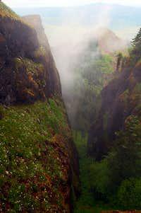 cliffs below saddle summit