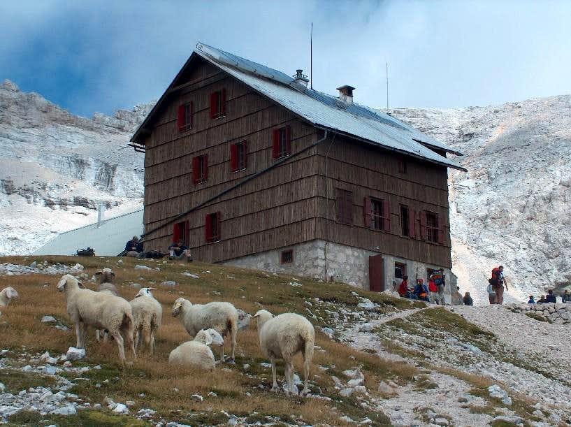 The hut Dom Planika, on the base of the Triglav ridge