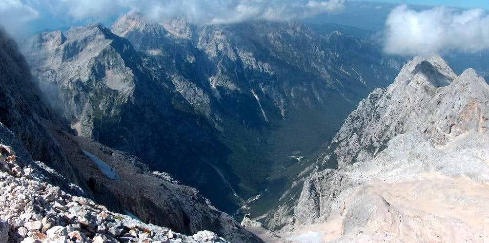 From the Triglav ridge, looking down into the north valley