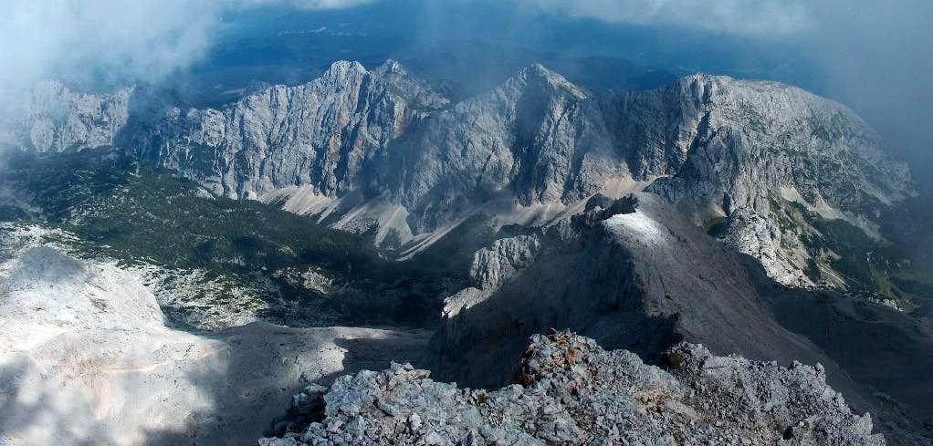 Going down the Triglav ridge