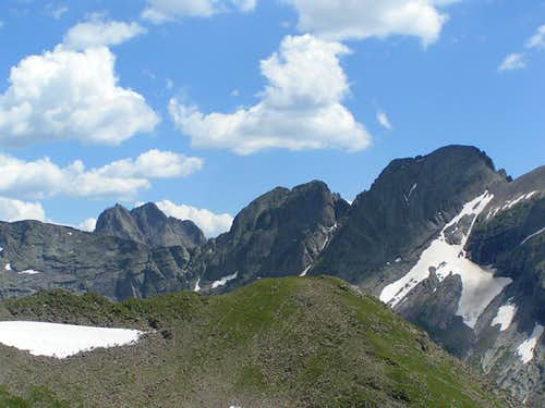 Crestone Peak, Challenger, North / Litter Chute & Kit Carson Peak.