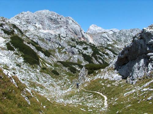 "Crossing Mišeljski Preval, alone in the vicinity of the ""overpopulated"" Triglav..."