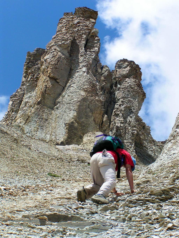 Descending Gully SE of T O Peaks Summit.
