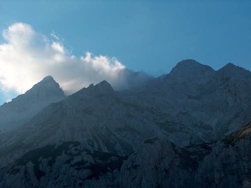 Smoky Triglav from Vodnikov Dom in the evening