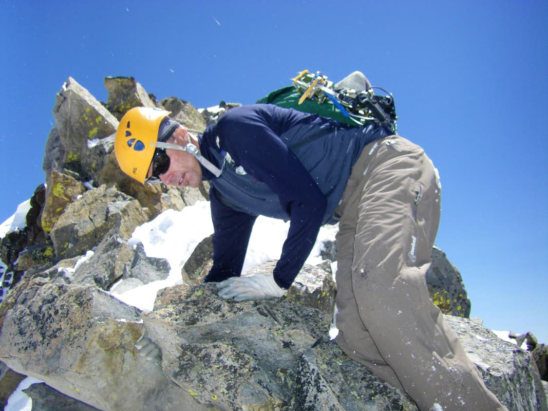 Descending from the summit in May, 2008