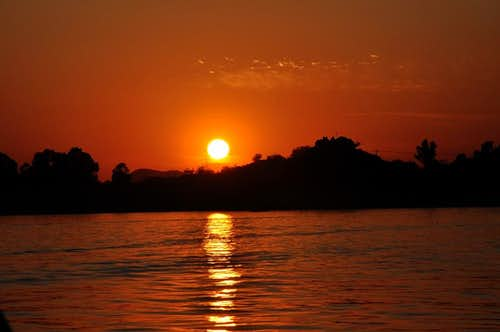 Sun Setting at Khanpur Dam