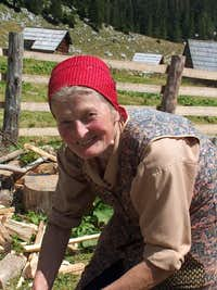 Planina v Lazu, this old woman kindly offered us to try the cheese she was making