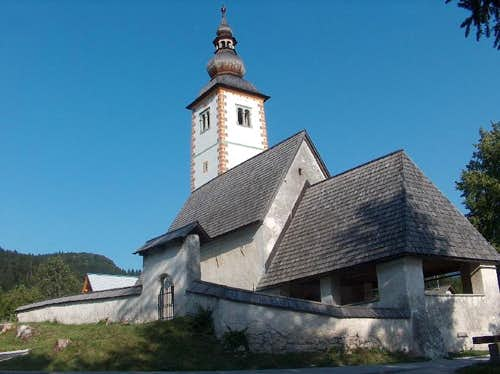 The church of Stara Fužina on Bohinj lake