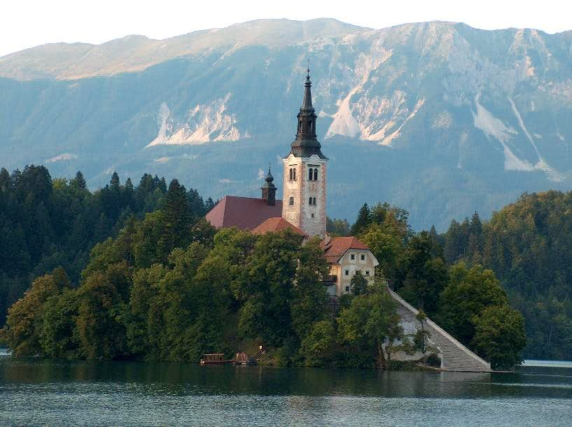 The famous church on the island of the Bled lake