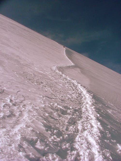 Heading down from the summit.