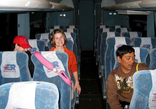 inside the bus to Puebla