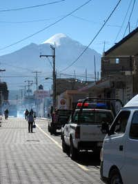 Orizaba from the streets of Tlachichuca on the last day