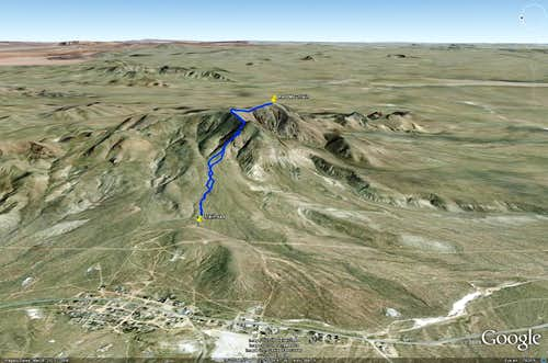 Approach to Red Mountain Trailhead - Google Earth