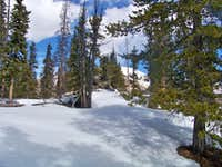 Snowy summit area of Spearhead Mountain