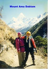 the background Mount Ama Dablam