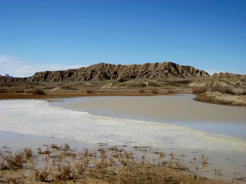 Small lake in the badlands