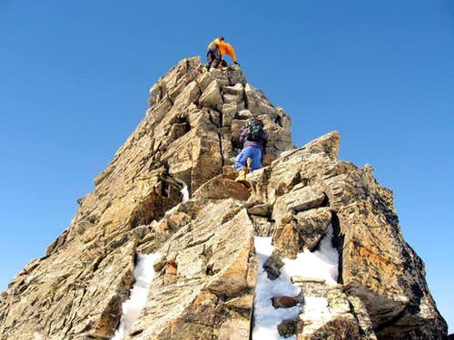 Funny and easy climb below the summit.