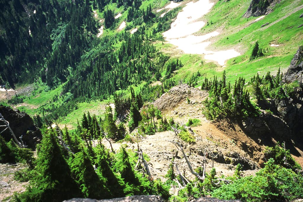 Looking down the gully from the summit