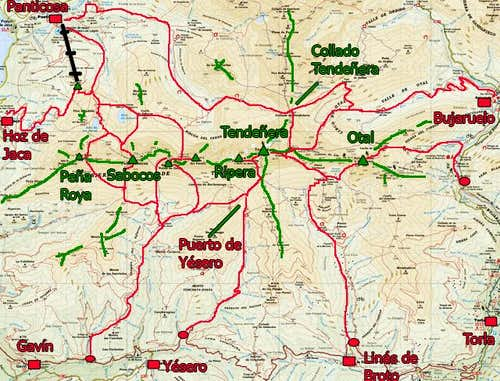 Sketch of routes in Tendeñera s range