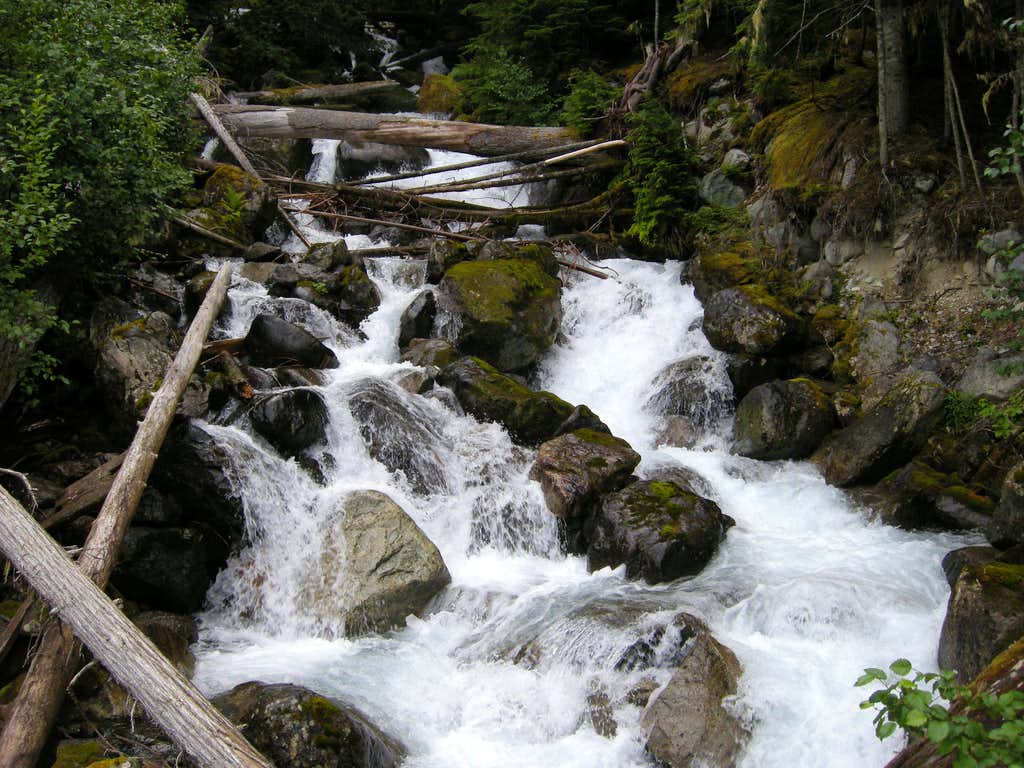 Crossing Falls from Wedgemount Creek