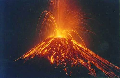 Arenal Eruption in 2000.  A...