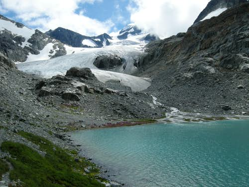 The toe of the glacier at Wedgemount Lake