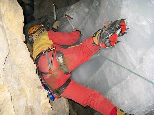 Ice Climbing in Cave