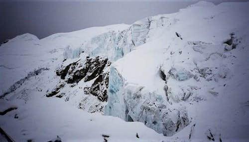 Ice cliffs on Mera seen from...