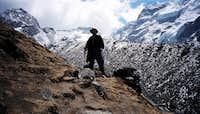 Climbing towards Khare with...