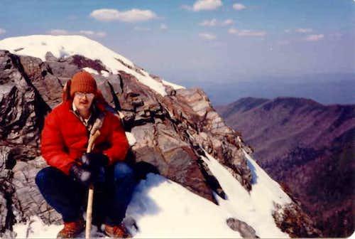 Just below the main peak of...