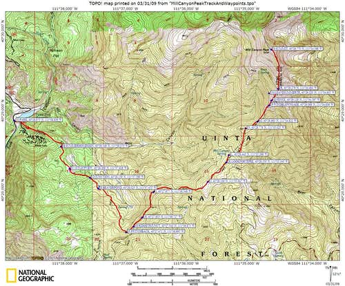 Map of Tibble Fork route