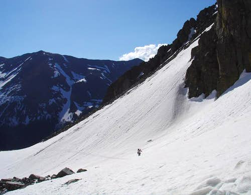 Skiing Lake Fork Peak in June