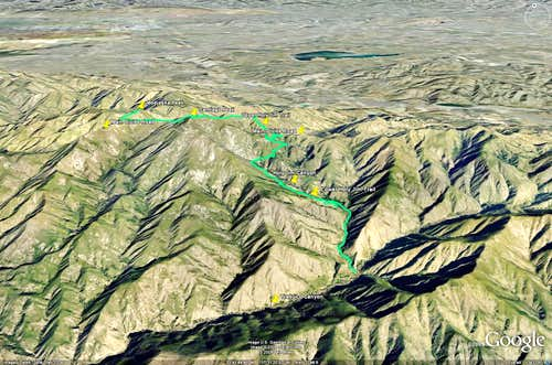 Santiago and Modjeska Peak - Google Earth Overview