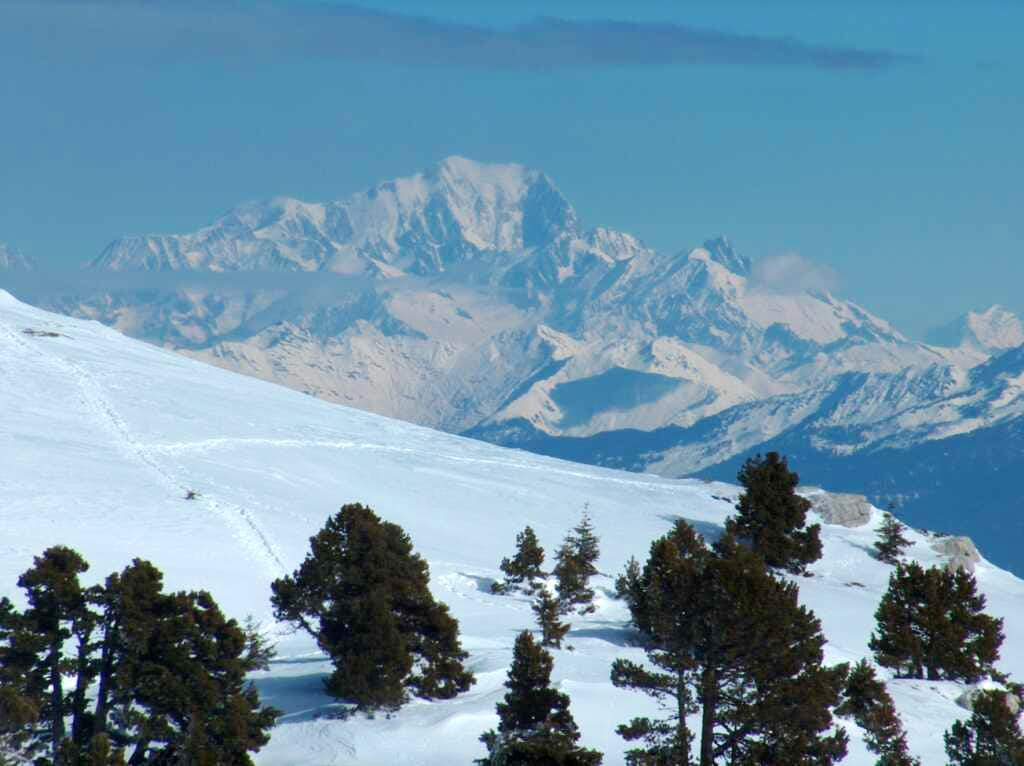 Looking to the Mont Blanc from the Croix de l'Alpe in the Chartreuse.