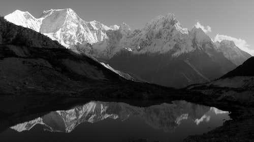 Manaslu reflection b&w