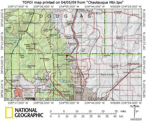 Chautauqua Mountain Regional Map