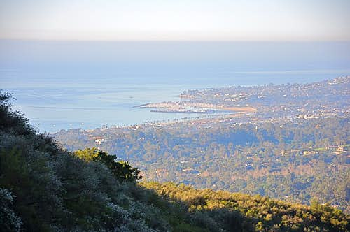 Santa Barbara Harbor viewed from the hills