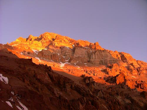 Aconcagua at sunset. Argentina.