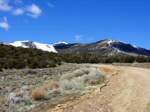 View of both summits from Peavine Road