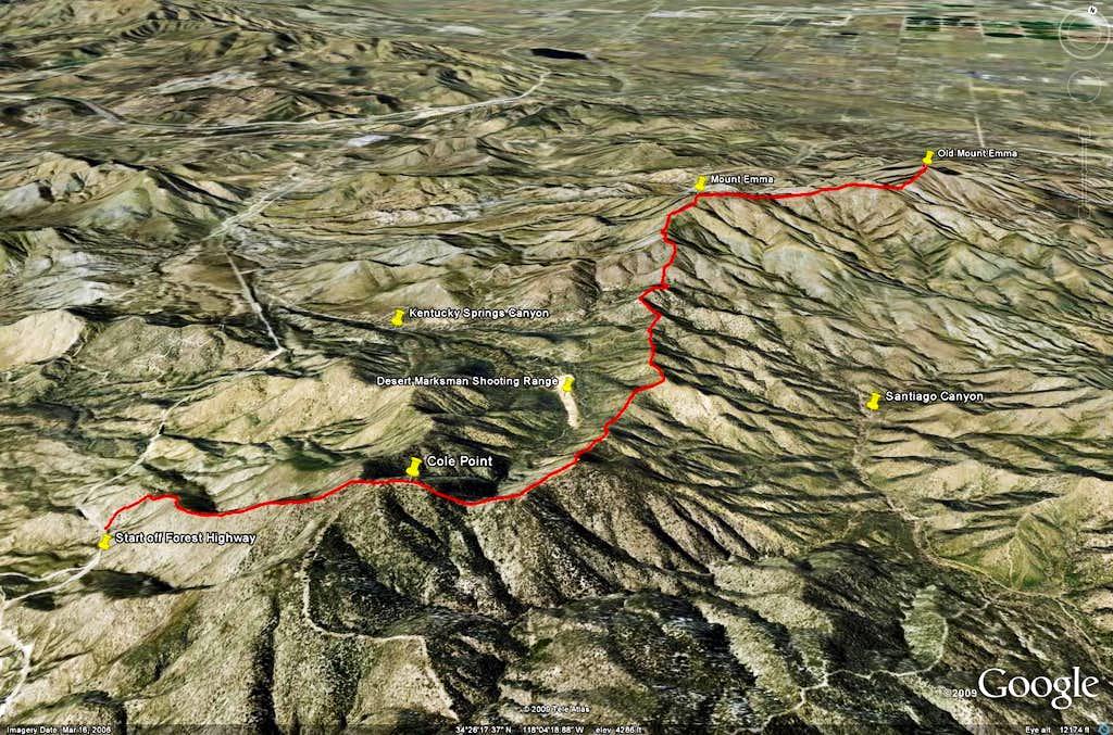 Cole Point, Mt. Emma, Old Mt. Emma - Google Earth Rendition