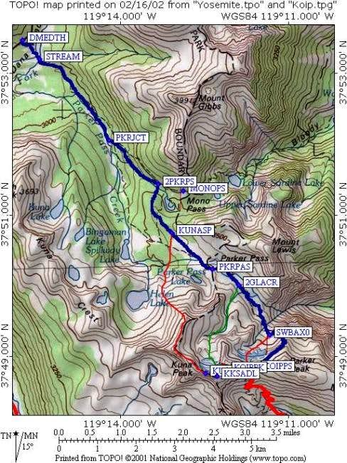 Entire Koip Peak route from...