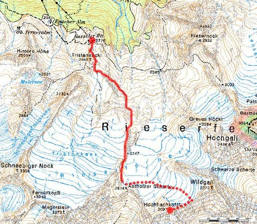 Map Hochflachkofel / Cima di Pianalto