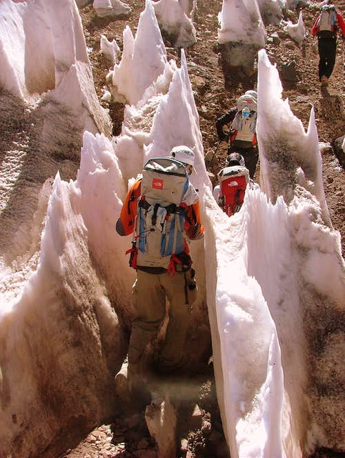 Crossing the penitentes.