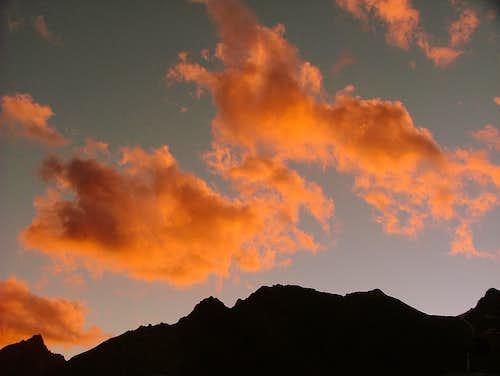 Sunset from Plaza de Mulas. Aconcagua.
