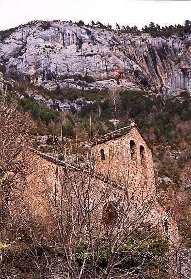 The abandonned church of Lamiana, Gargantas de Escuaín, Spannish Pirenees.