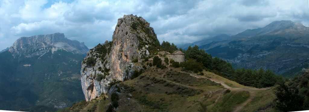 Tella and its four ermitages, overlooking the Gargantas de Escuaín, Spannish Pirenees.