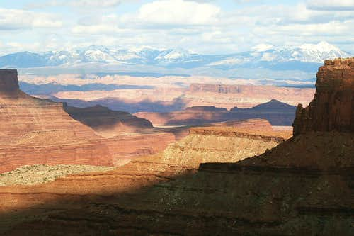 Canyonlands and the La Sals<br>As Seen From Shafer Trail