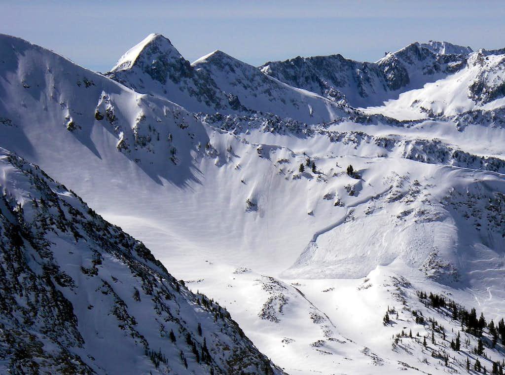 A large avalanche just off Temptation Ridge