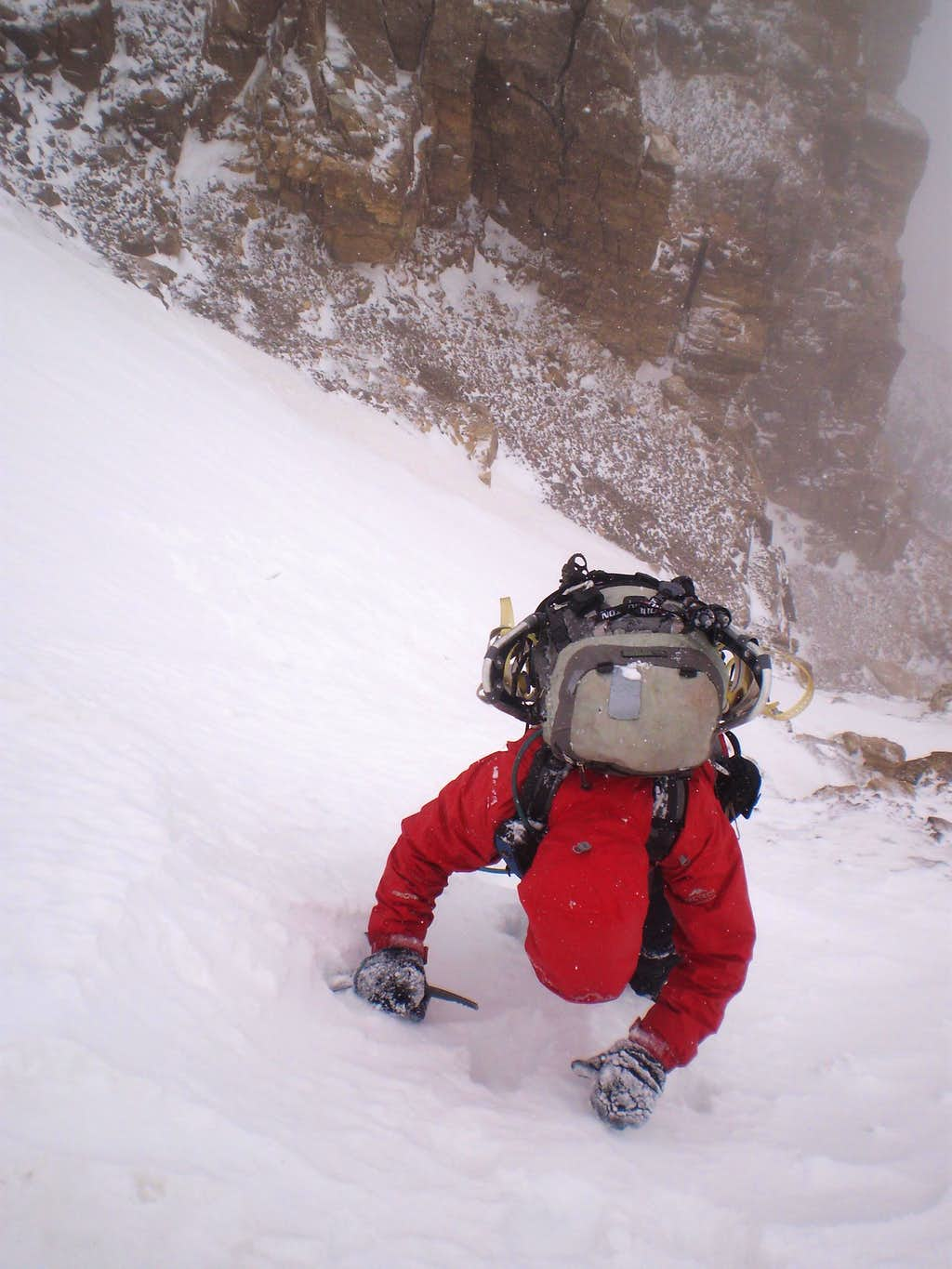 Kicking steps on one of the couloirs